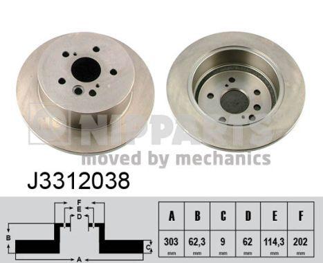 NIPPARTS: Original Bremsscheiben J3312038 (Ø: 303mm, Lochanzahl: 5, Bremsscheibendicke: 9mm)