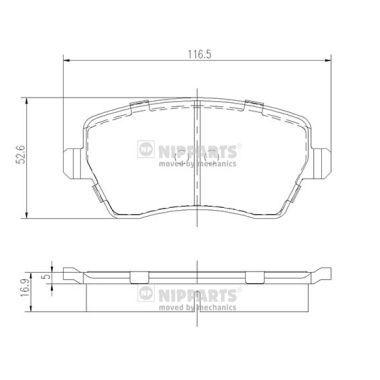 J3601085 NIPPARTS nicht für Verschleißwarnanzeiger vorbereitet, mit Bremssattelschrauben, mit Zubehör Höhe: 52,5mm, Breite: 52,6mm, Dicke/Stärke: 16,9mm Bremsbelagsatz, Scheibenbremse J3601085 günstig kaufen