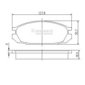 J3611032 NIPPARTS nicht für Verschleißwarnanzeiger vorbereitet Höhe: 50,5mm, Dicke/Stärke: 19mm Bremsbelagsatz, Scheibenbremse J3611032 günstig kaufen
