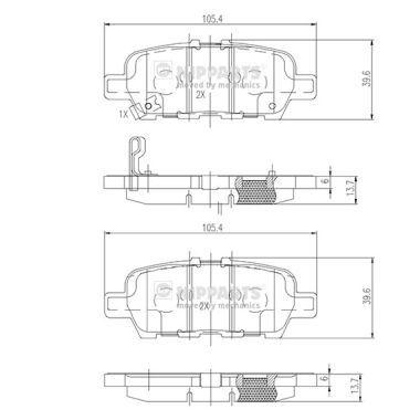 Bremsbelagsatz Scheibenbremse NISSAN Murano III (Z52) hinten + vorne 2017 - NIPPARTS N3611051 (Höhe: 38,2mm, Dicke/Stärke: 14mm)