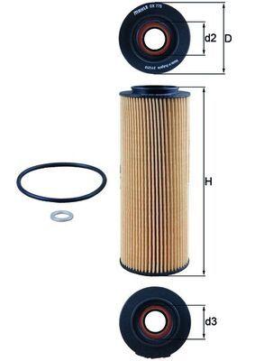 Hyundai ix55 2014 Oil filter MAHLE ORIGINAL OX 775D: Filter Insert