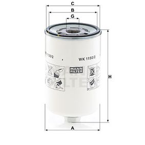 Kraftstofffilter von MANN-FILTER WK 1150/2 hole dir 27% Nachlass