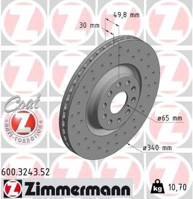 600.3243.52 Freni a Disco ZIMMERMANN prodotti di marca a buon mercato