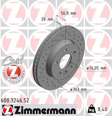 Achetez Disque de frein ZIMMERMANN 600.3246.52 (Ø: 303mm, Jante: 5Trou, Épaisseur du disque de frein: 28mm) à un rapport qualité-prix exceptionnel