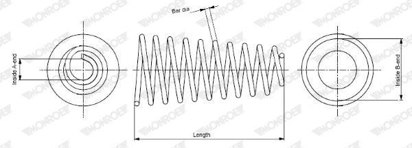 MONROE: Original Stoßdämpfer Feder SP3744 (Länge: 334mm, Länge: 334mm, Ø: 100mm)