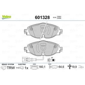 601328 VALEO Eje delantero, con contacto avisador de desgaste, con contacto de aviso de desgaste incorporado Altura 1: 64,60mm, Ancho 1: 160,10mm, Espesor 1: 19,90mm Juego de pastillas de freno 601328 a buen precio