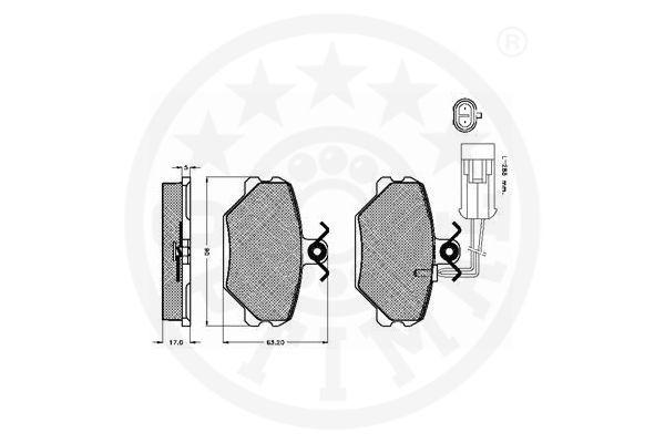 10094 OPTIMAL Hinterachse, mit Bremssattelschrauben Breite: 52,8mm, Dicke/Stärke: 15,2mm Bremsbelagsatz, Scheibenbremse 10094 günstig kaufen