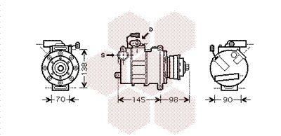 0300K280 VAN WEZEL PAG 46, Kältemittel: R 134a Anzahl der Rillen: 1 Klimakompressor 0300K280 günstig kaufen