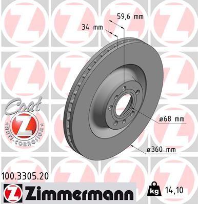 Achetez Disque de frein ZIMMERMANN 100.3305.20 (Ø: 360mm, Jante: 5Trou, Épaisseur du disque de frein: 34mm) à un rapport qualité-prix exceptionnel