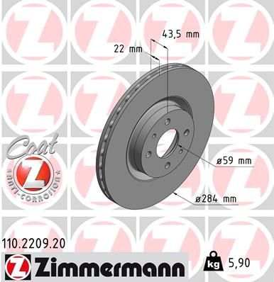 ZIMMERMANN Bremsscheibe 110.2209.20