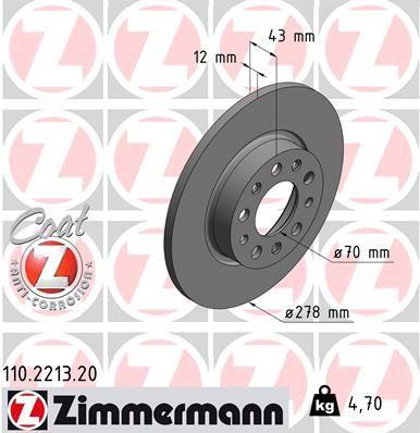 JEEP COMPASS 2015 Bremsscheibe - Original ZIMMERMANN 110.2213.20 Ø: 278mm, Felge: 5-loch, Bremsscheibendicke: 12mm