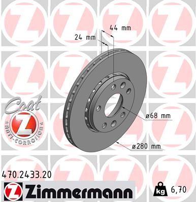 Stabdžių dalys 470.2433.20 su puikiu ZIMMERMANN kainos/kokybės santykiu