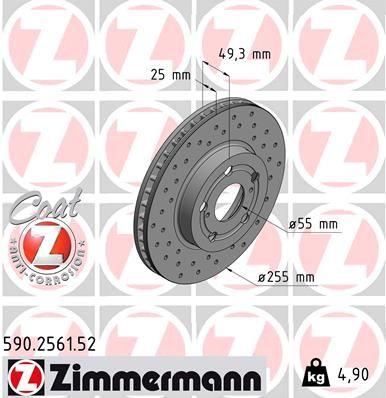 Bremsscheibe Toyota Celica T23 hinten und vorne 2003 - ZIMMERMANN 590.2561.52 (Ø: 255mm, Felge: 5-loch, Bremsscheibendicke: 25mm)