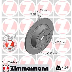 480.1546.20 ZIMMERMANN COAT Z Voll, beschichtet Ø: 286mm Bremsscheibe 480.1546.20 günstig kaufen