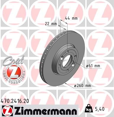 470.2416.20 ZIMMERMANN COAT Z außenbelüftet, beschichtet, hochgekohlt Ø: 260mm, Felge: 4-loch, Bremsscheibendicke: 22mm Bremsscheibe 470.2416.20 günstig kaufen