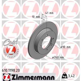 610.1198.20 ZIMMERMANN COAT Z Voll, beschichtet Ø: 260mm, Lochanzahl: 4, Bremsscheibendicke: 10mm Bremsscheibe 610.1198.20 günstig kaufen