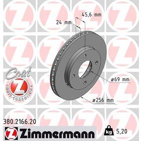 380.2166.20 ZIMMERMANN COAT Z außenbelüftet, beschichtet, hochgekohlt Ø: 256mm, Lochanzahl: 4, Bremsscheibendicke: 24mm Bremsscheibe 380.2166.20 günstig kaufen