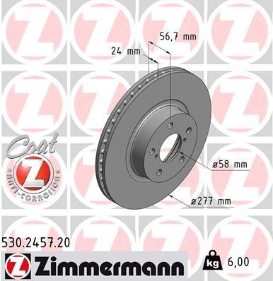 530.2457.20 ZIMMERMANN COAT Z Innenbelüftet, beschichtet Ø: 277mm, Felge: 5-loch, Bremsscheibendicke: 24mm Bremsscheibe 530.2457.20 günstig kaufen