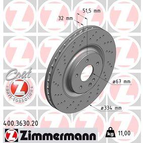 400.3630.20 ZIMMERMANN COAT Z Innenbelüftet, Gelocht, beschichtet Ø: 334mm Bremsscheibe 400.3630.20 günstig kaufen