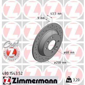480.1543.52 ZIMMERMANN SPORT COAT Z Voll, Gelocht, beschichtet Ø: 258mm, Lochanzahl: 4, Bremsscheibendicke: 9mm Bremsscheibe 480.1543.52 günstig kaufen