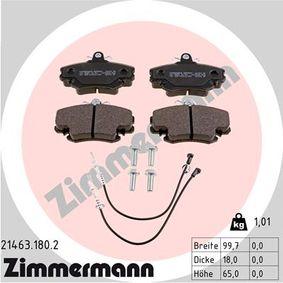 21463 ZIMMERMANN inkl. Verschleißwarnkontakt Höhe: 65mm, Breite: 100mm, Dicke/Stärke: 18mm Bremsbelagsatz, Scheibenbremse 21463.180.2 günstig kaufen