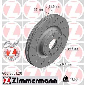 400.3681.20 ZIMMERMANN COAT Z Innenbelüftet, angesenkt, beschichtet, hochgekohlt Ø: 344mm Bremsscheibe 400.3681.20 günstig kaufen