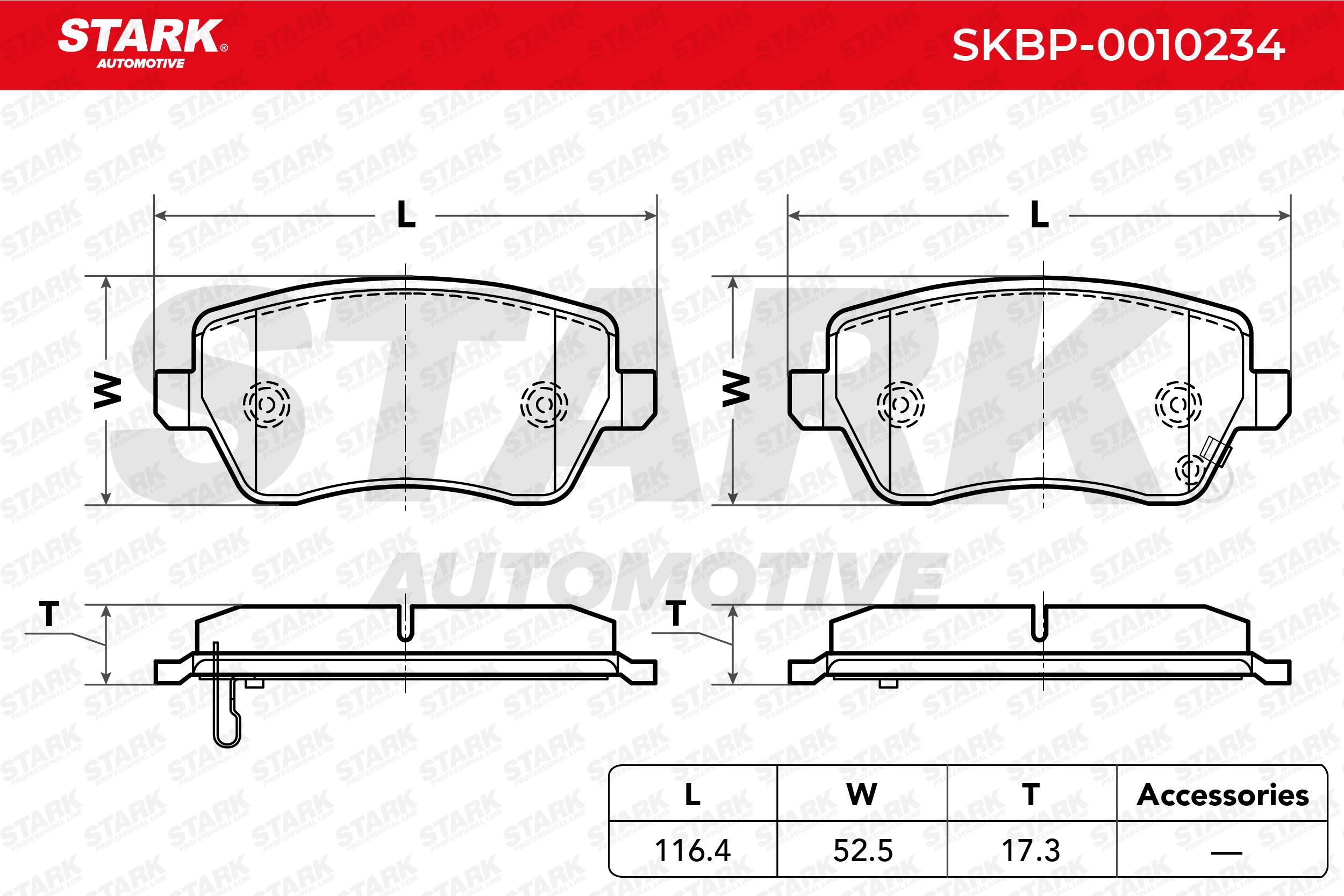 SKBP-0010234 STARK Vorderachse, mit akustischer Verschleißwarnung Höhe: 52,5mm, Breite: 116,4mm, Dicke/Stärke: 17,3mm Bremsbelagsatz, Scheibenbremse SKBP-0010234 günstig kaufen