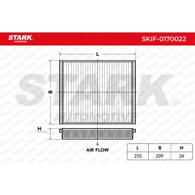SKIF-0170022 STARK Kupéluftsfilter B: 209mm, H: 34mm, L: 235mm Filter, kupéventilation SKIF-0170022 köp lågt pris