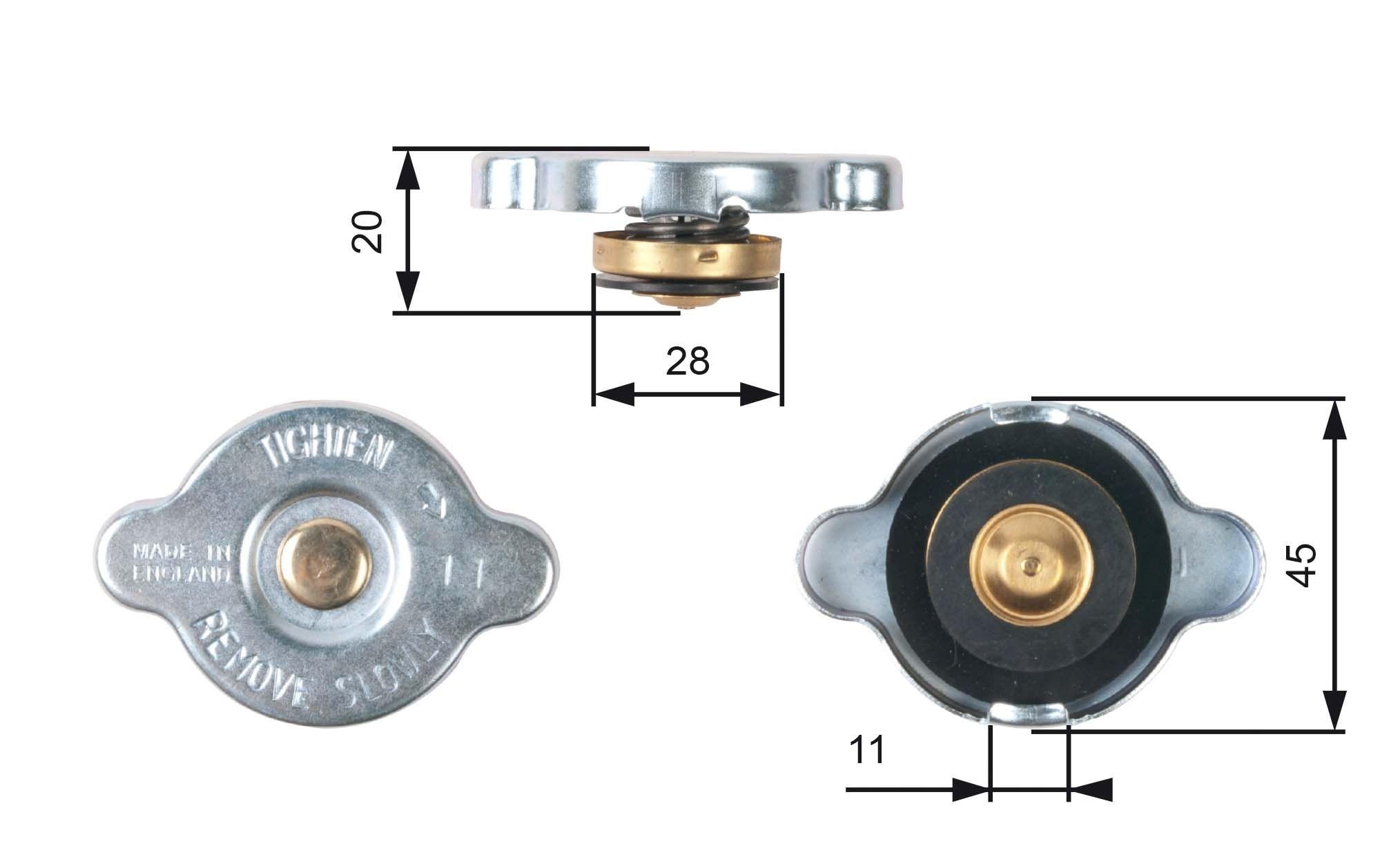 RC133 Tampa de fecho, radiador GATES - Produtos de marca baratos