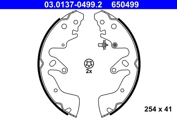 650499 ATE ohne Hebel Breite: 41mm Bremsbackensatz 03.0137-0499.2 günstig kaufen