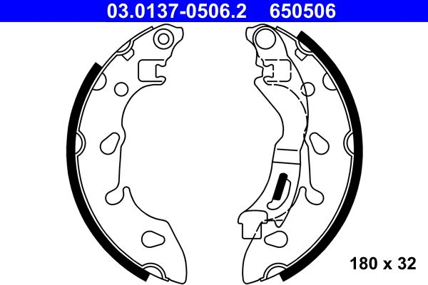 Brake shoe kits 03.0137-0506.2 ATE — only new parts