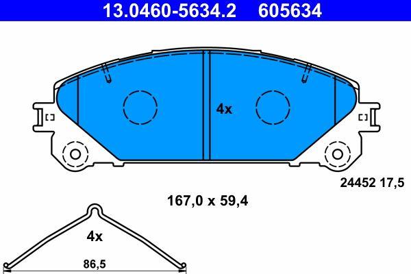 LEXUS RX 2015 Bremsklötze - Original ATE 13.0460-5634.2 Höhe: 59,4mm, Breite: 167,0mm, Dicke/Stärke: 17,5mm