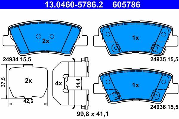 ATE: Original Bremsbelagsatz 13.0460-5786.2 (Höhe: 41,1mm, Breite: 99,8mm, Dicke/Stärke: 15,5mm)