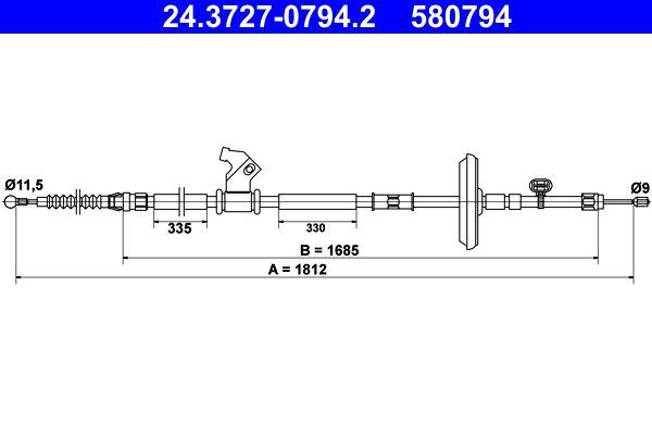 OPEL ASTRA 2014 Handbremse - Original ATE 24.3727-0794.2 Länge: 1812mm