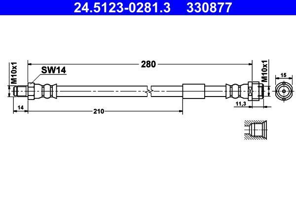 24.5123-0281.3 Bremsschlauch ATE - Markenprodukte billig