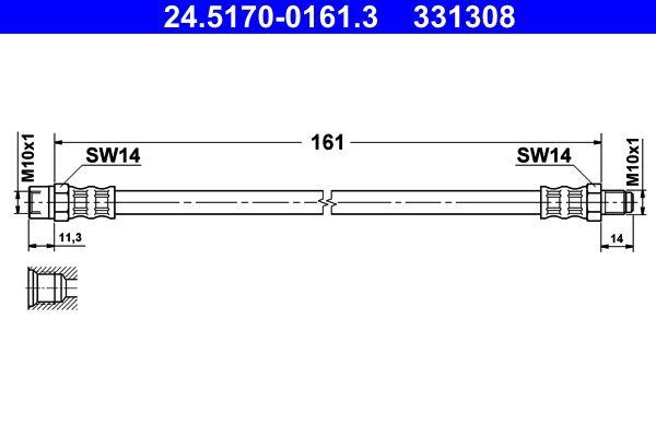 24.5170-0161.3 Bremsschlauch ATE in Original Qualität