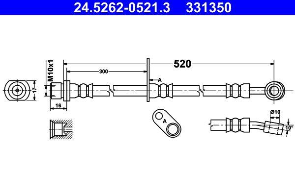 331350 ATE ohne Hohlschraube Länge: 520mm, Innengewinde: M10x1mm Bremsschlauch 24.5262-0521.3 günstig kaufen
