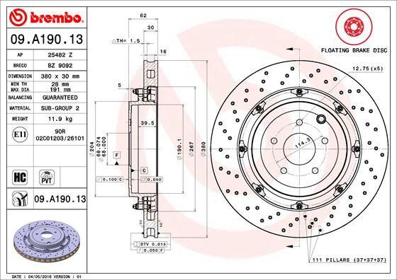 NISSAN GT-R 2021 Bremsscheibe - Original BREMBO 09.A190.13 Ø: 380mm, Lochanzahl: 5, Bremsscheibendicke: 30mm