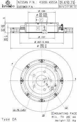 NISSAN GT-R 2020 Scheibenbremsen - Original BREMBO 09.A190.23 Ø: 380mm, Lochanzahl: 5, Bremsscheibendicke: 30mm