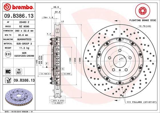 NISSAN GT-R 2016 Bremsscheiben - Original BREMBO 09.B386.13 Ø: 390mm, Lochanzahl: 5, Bremsscheibendicke: 32,6mm