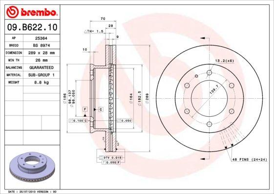 MAZDA BT-50 2014 Tuning - Original BREMBO 09.B622.10 Ø: 289mm, Lochanzahl: 6, Bremsscheibendicke: 28mm