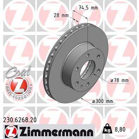 230.6268.20 ZIMMERMANN COAT Z Ventilerad inifrån, belagd Ø: 300mm Bromsskiva 230.6268.20 köp lågt pris