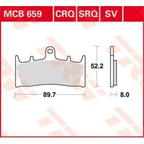 Moto TRW Sinter Street Height: 52,2mm, Thickness: 8mm Brake Pad Set, disc brake MCB659SV cheap