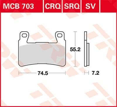 Komplet zavornih oblog, ploscne (kolutne) zavore TRW MCB703SV CBR HONDA