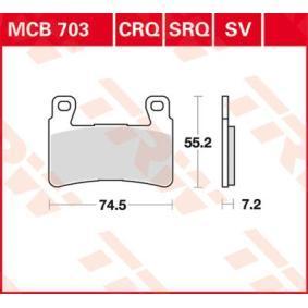 Comprar moto TRW Sinter Street Altura: 55,19mm, Espesor: 7,2mm Juego de pastillas de freno MCB703SV a buen precio