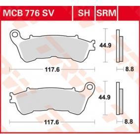Moto TRW Sinter Maxi Scooter Wys.: 44,9[mm], Grubość: 8,8[mm] Zestaw klocków hamulcowych, hamulce tarczowe MCB776SRM kupić niedrogo