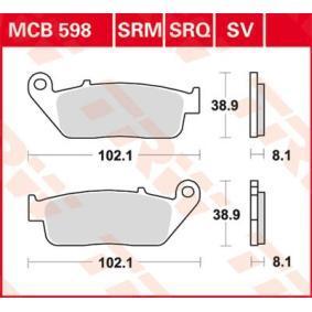 Moto TRW Sinter Street Výżka: 38,9mm, Hrúbka: 8,1mm Sada brzdových platničiek kotúčovej brzdy MCB598SV kúpte si lacno