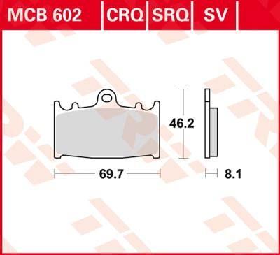 TRW Sinter Carbon Racing Bromsbeläggssats, skivbroms MCB602SV KAWASAKI