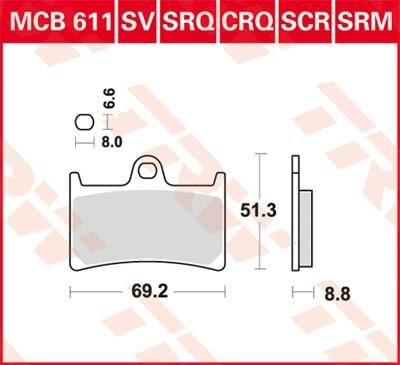 Moto TRW Organic Allround Wys.: 51,3[mm], Grubość: 8,8[mm] Zestaw klocków hamulcowych, hamulce tarczowe MCB611 kupić niedrogo