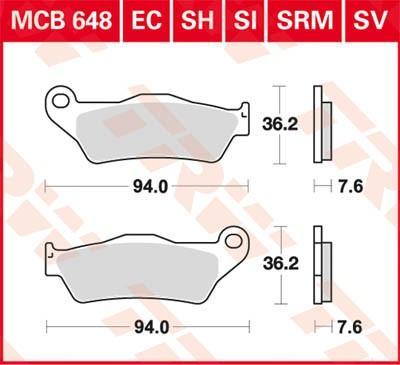 Комплект спирачно феродо, дискови спирачки MCB648 на ниска цена — купете сега!